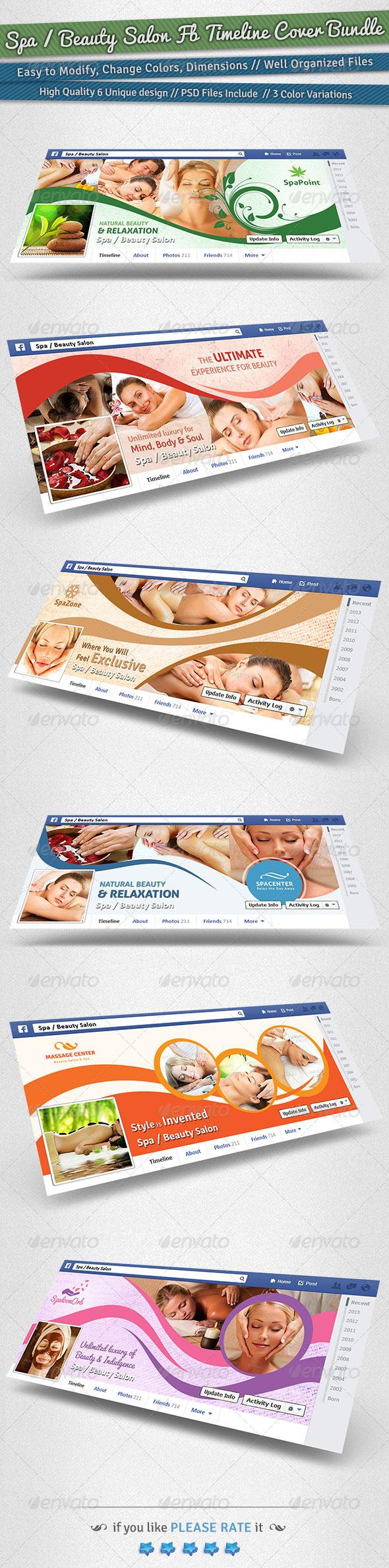 Spa / Beauty Salon Facebook Timeline Cover Bundle - Facebook Timeline Covers Social Media