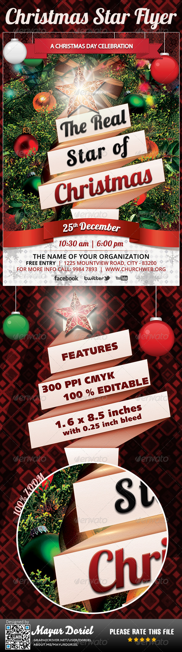 Christmas Star Flyer Template - Miscellaneous Events