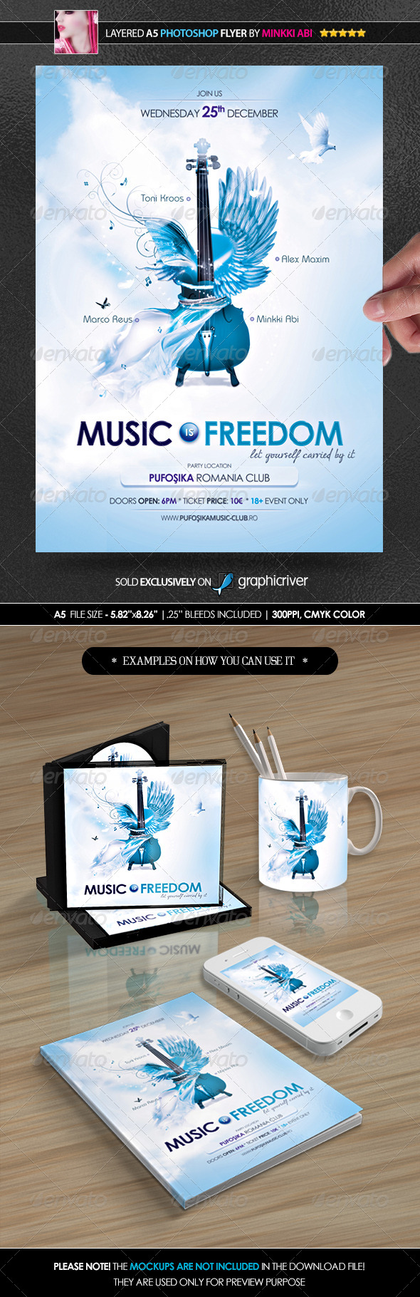 Music Is Freedom Poster/Flyer - Clubs & Parties Events