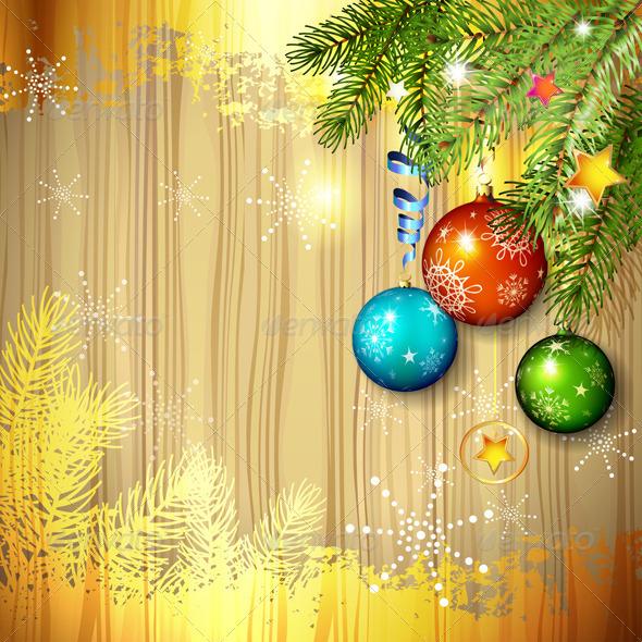 Christmas Ball and Pine Tree  - Christmas Seasons/Holidays