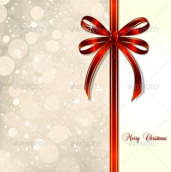 Red Bow on a Christmas Card - Christmas Seasons/Holidays