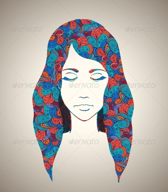 Abstract Girl Portrait with Floral Ornament - People Characters