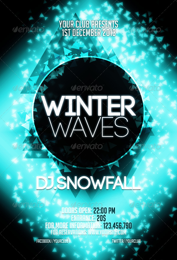 Winter Waves Flyer Template By Criscx  Graphicriver