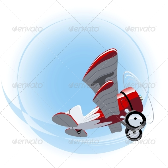 Vector Cartoon Biplane - Man-made Objects Objects