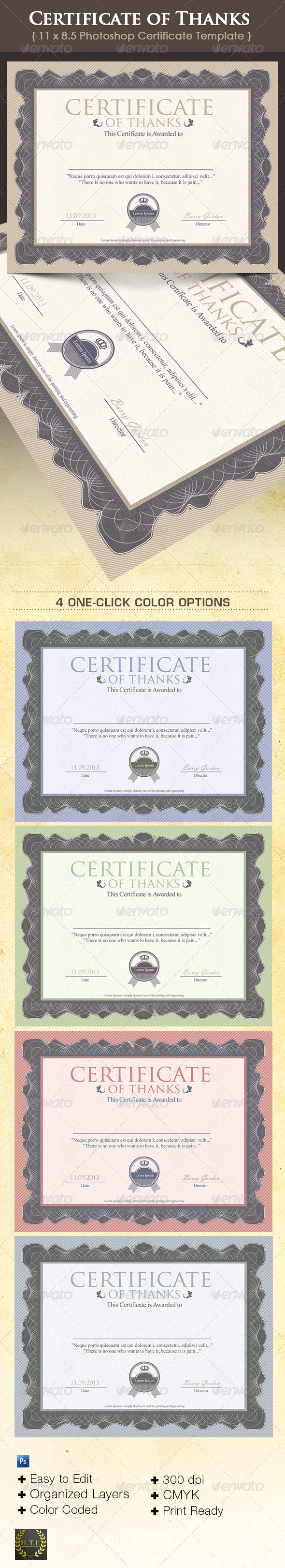 Certificate of Thanks - Miscellaneous Print Templates