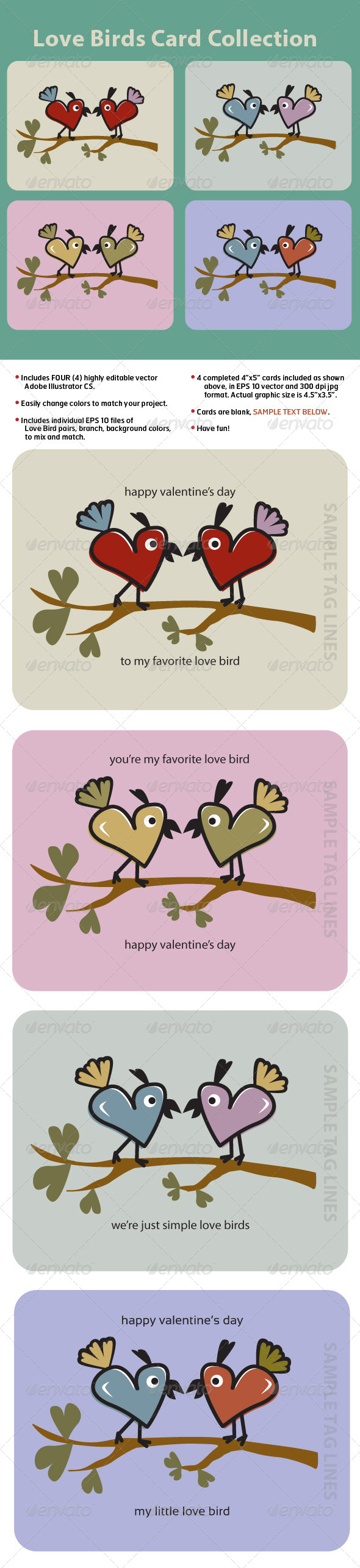 Love Birds Card Collection - Valentines Seasons/Holidays