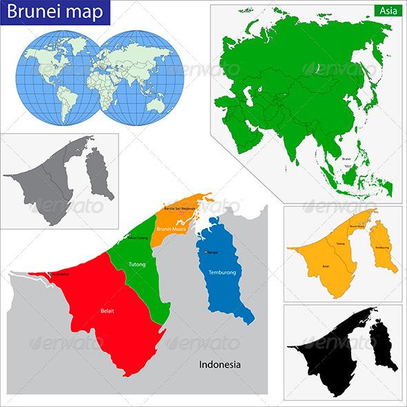Brunei Map - Travel Conceptual