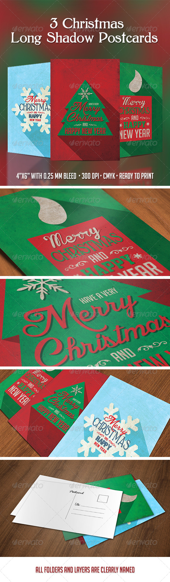 3 Christmas Long Shadow Postcards - Cards & Invites Print Templates