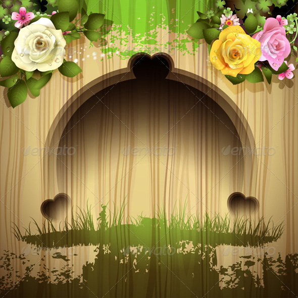 Wood Background with Roses - Miscellaneous Characters