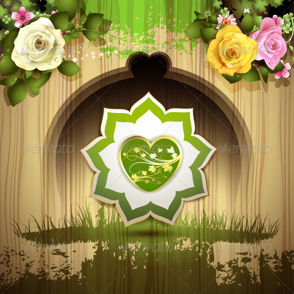 Green Heart with Roses - Miscellaneous Characters