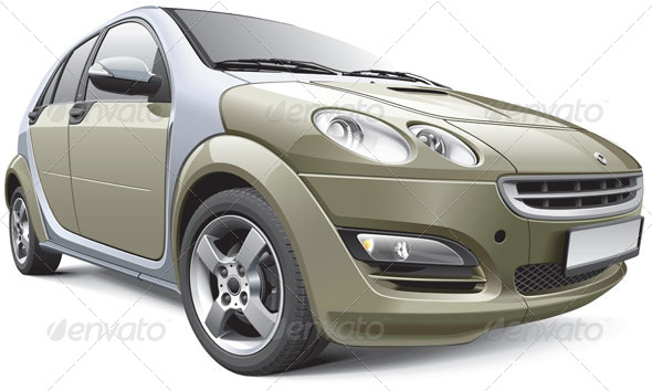 European Subcompact Hatchback - Vectors