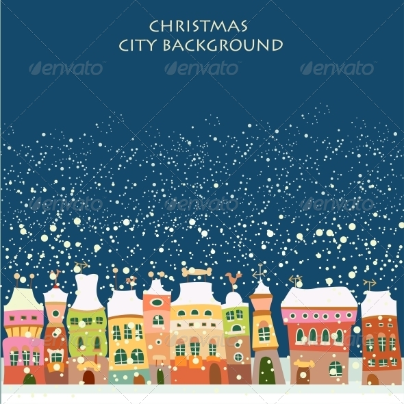Vector Illustration with Winter City - Buildings Objects