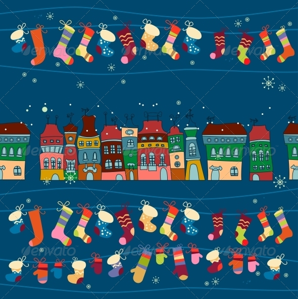 Seamless Pattern of Winter Town - Patterns Decorative