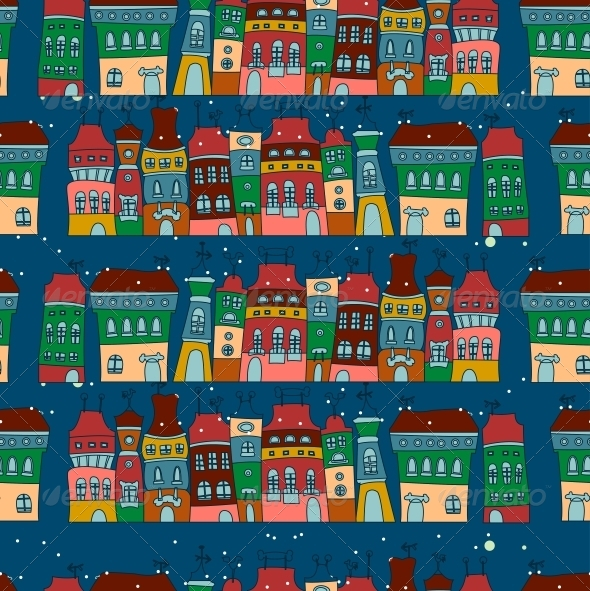 Seamless Pattern with Colorful Houses - Patterns Decorative