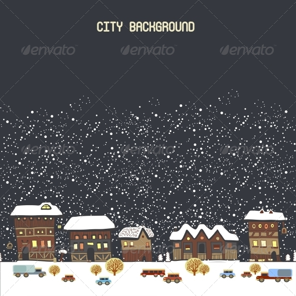 Vector Illustration with Winter City - Backgrounds Decorative