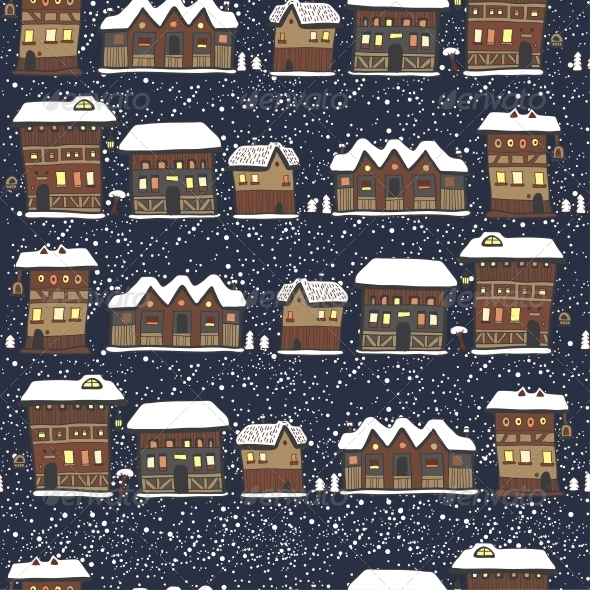 Winter Christmas Pattern with Houses and Trees - Christmas Seasons/Holidays