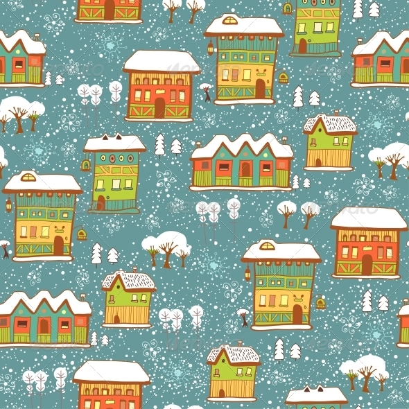 Winter Background with Houses and Snow - Patterns Decorative