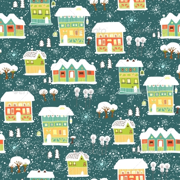 Winter Pattern with Houses and Trees - Patterns Decorative