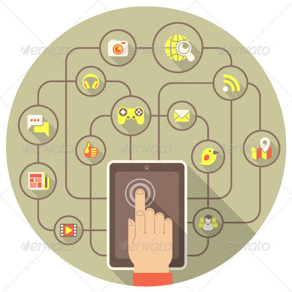 Social Networking by Tablet in Gray Circle - Communications Technology