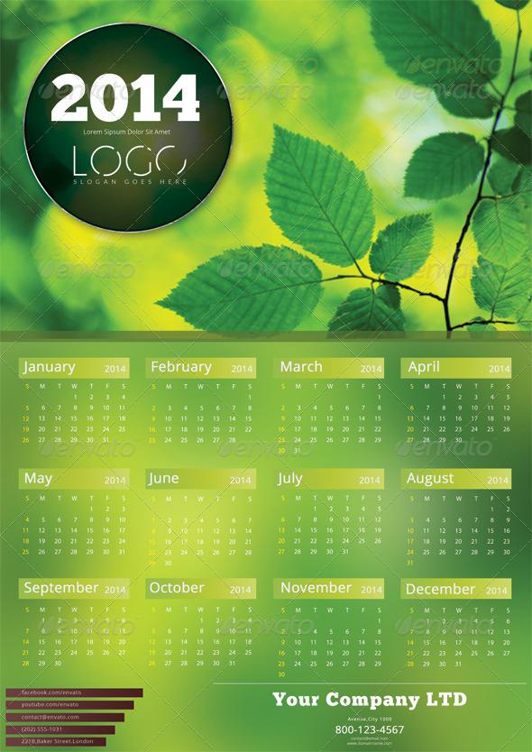 Green Calendar Template - 2014 - Calendars Stationery