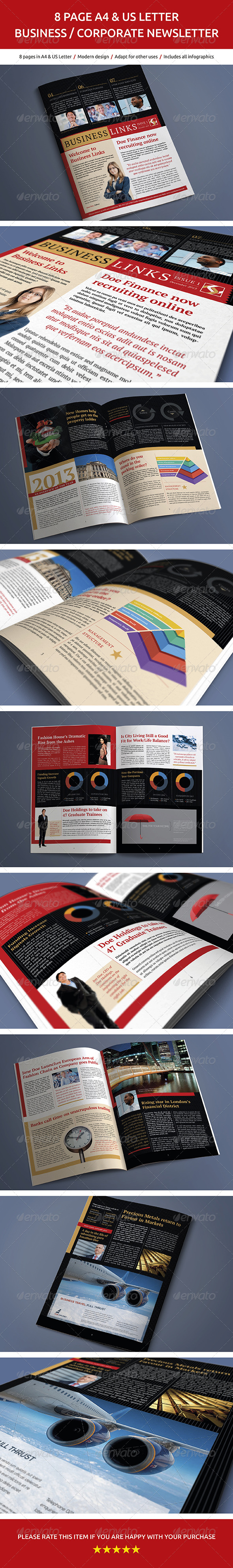 8 Page Business and Corporate Newsletter No.2 - Newsletters Print Templates
