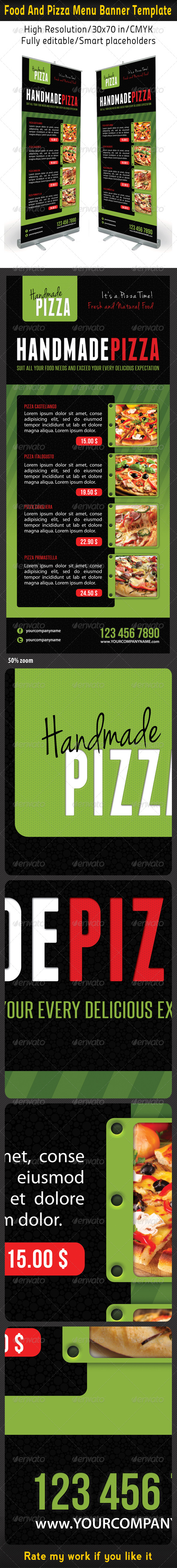Food And Pizza Menu Banner Template 06 - Signage Print Templates