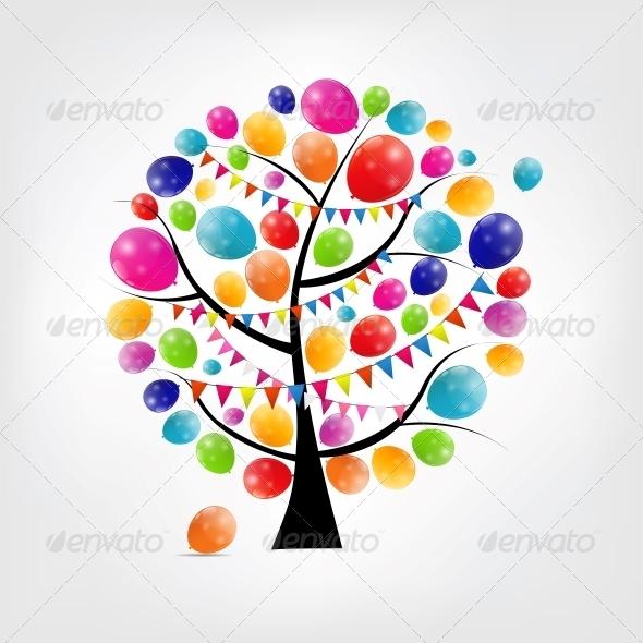 Color Glossy Balloons Tree Background - Birthdays Seasons/Holidays