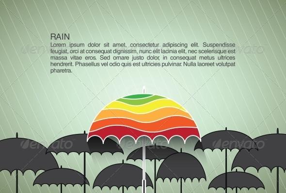 Vector Design Template with Umbrellas - Miscellaneous Conceptual