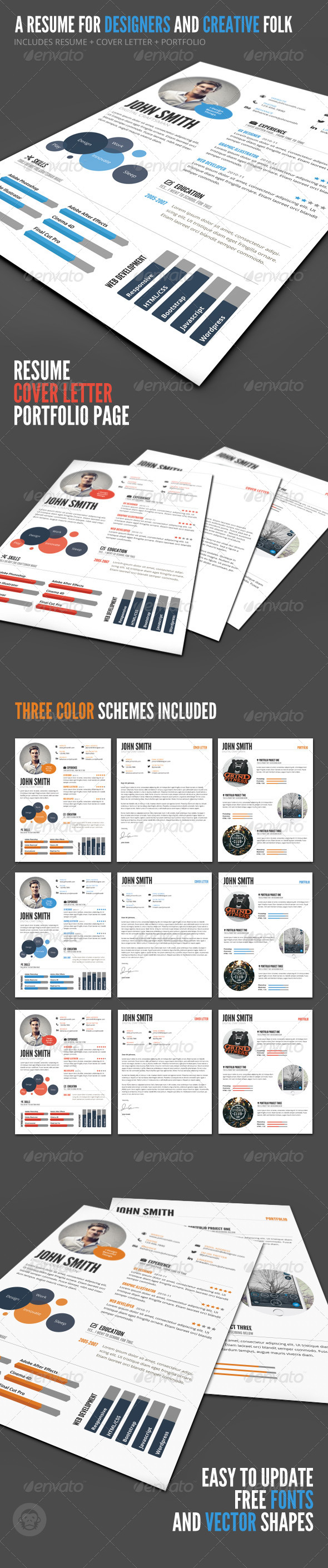 InfoGraphic Style Resume Template - Resumes Stationery