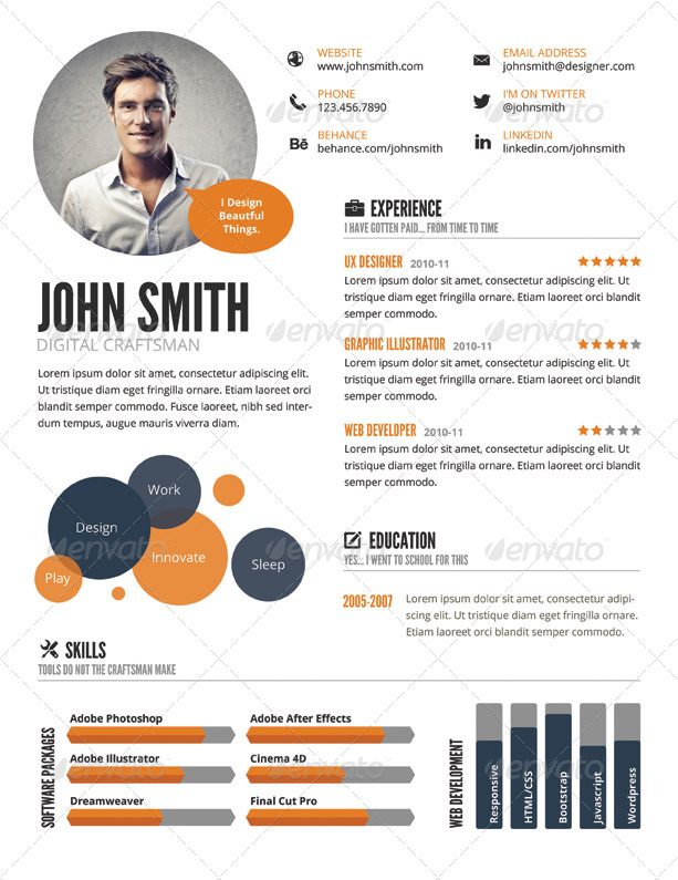 infographic style resume template by graphicmonkee
