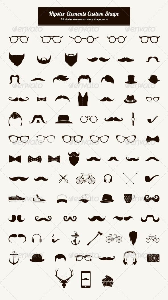 Hipster Elements Custom Shape - Shapes Photoshop