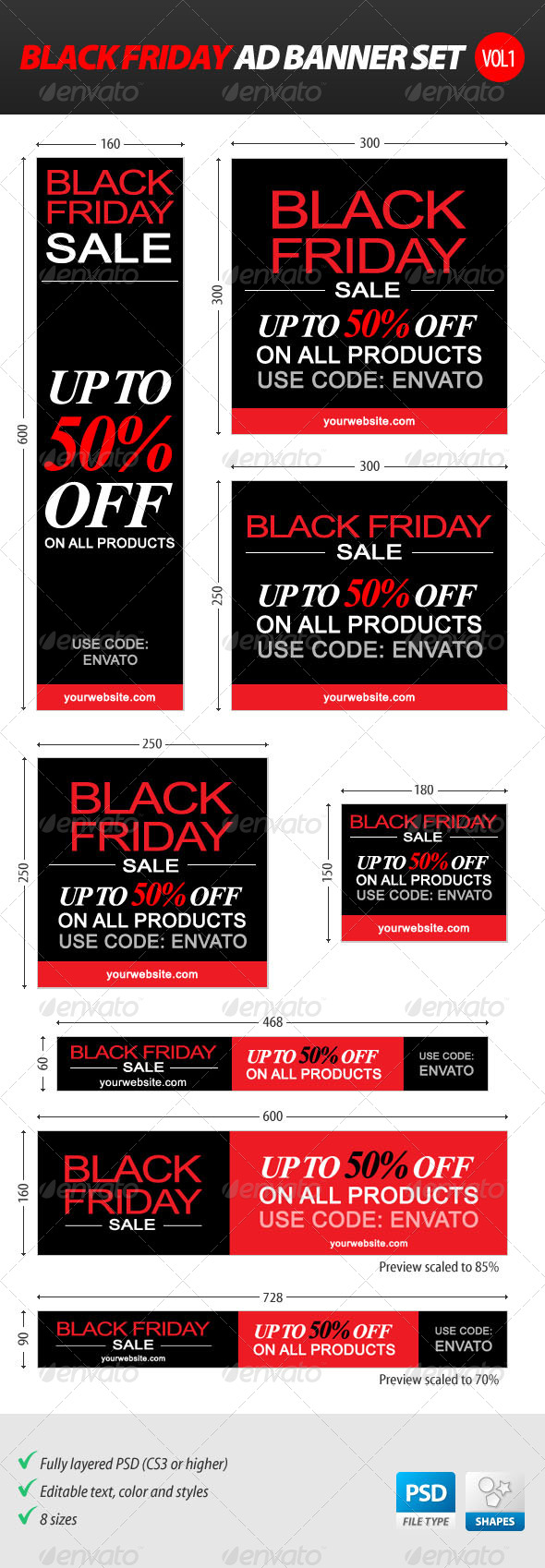 Black Friday Ad Banner Set vol.1 - Banners & Ads Web Elements