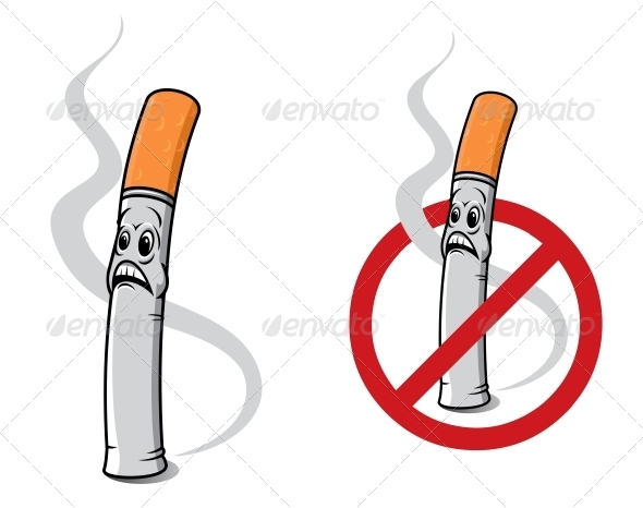 Cartoon Cigarette - Health/Medicine Conceptual