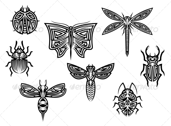 Tribal Insect Tattoos Set - Tattoos Vectors