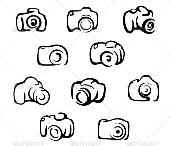 Camera Icons and Symbols Set - Media Technology
