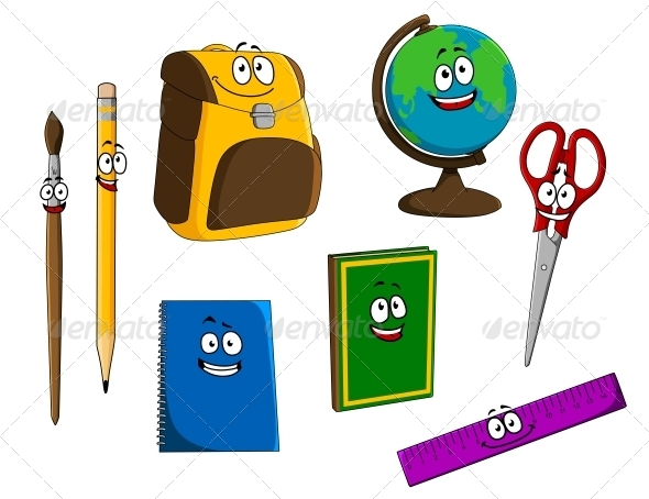 Cartoon School Objects - Miscellaneous Characters