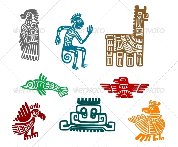Aztec and Maya Ancient Drawings - Decorative Symbols Decorative
