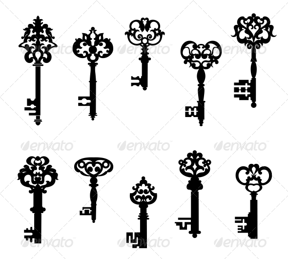 Antique Keys Set - Man-made Objects Objects