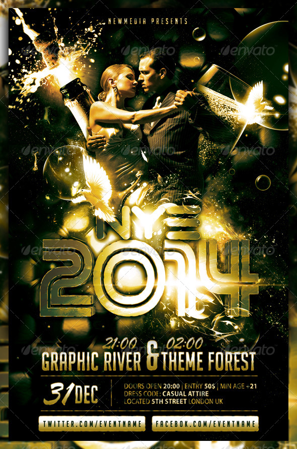 Champagne / New Year Eve Party Flyer / Poster - Clubs & Parties Events