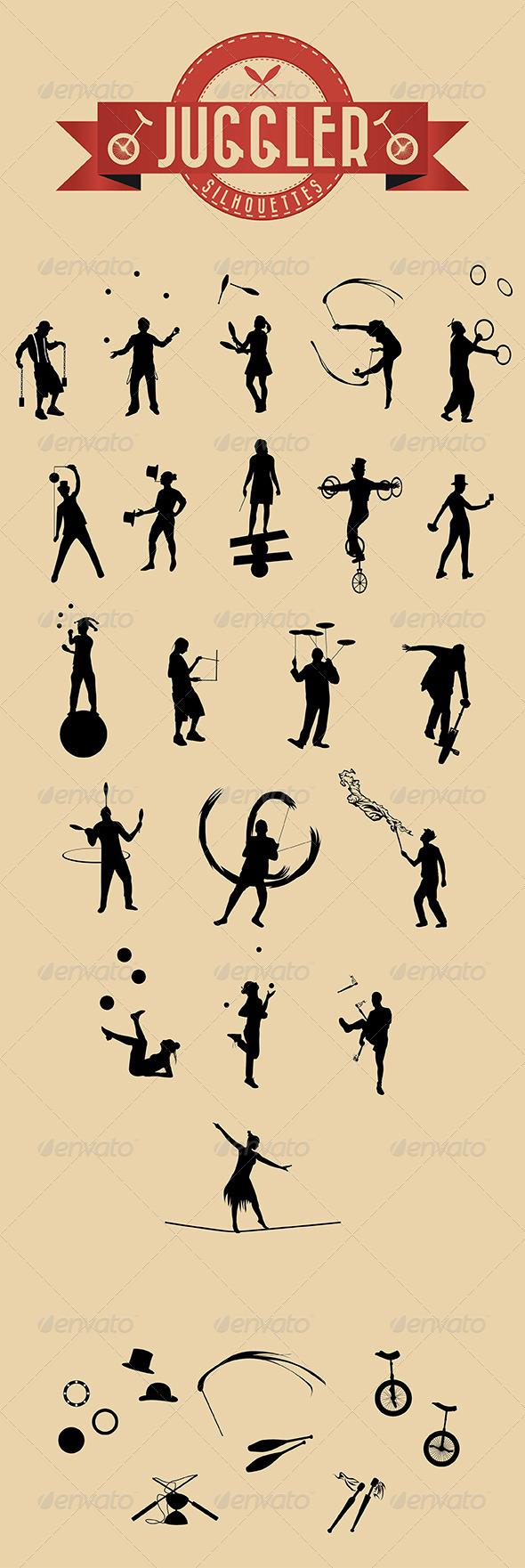 21 Jugglers Vector Silhouettes - Characters Vectors
