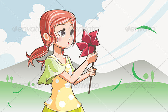 Girl Blowing Pinwheel - People Characters