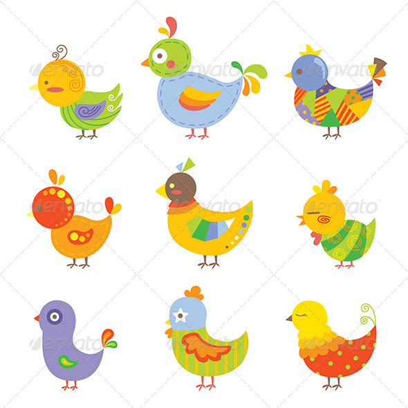Colorful Chickens - Animals Characters