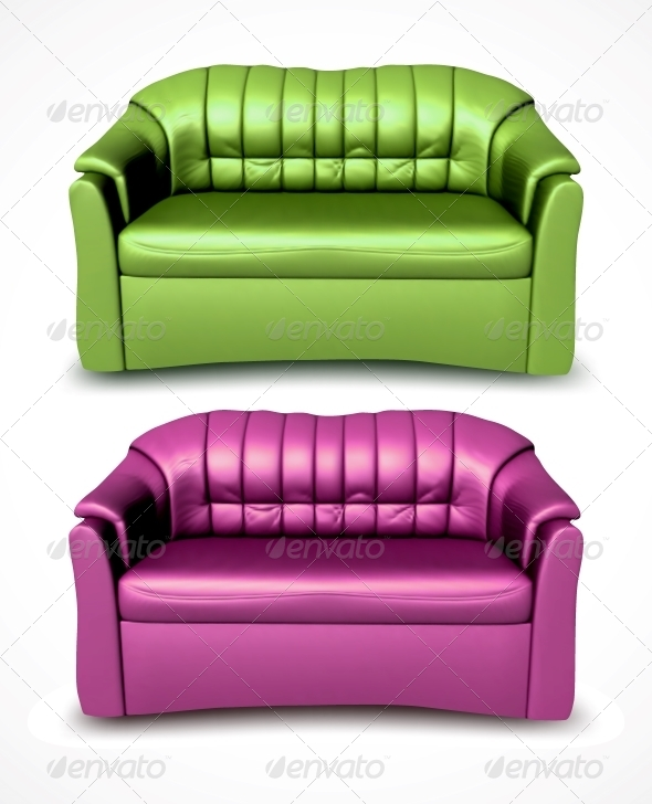 Green and Pink Vector Sofas - Miscellaneous Vectors