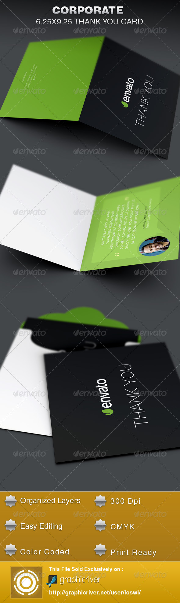 Corporate Thank You Card Template By Loswl GraphicRiver - Thank you for your business card template