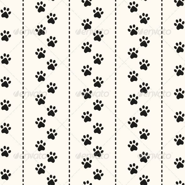 Seamless Animal Pattern of Paw Footprint.  - Patterns Decorative