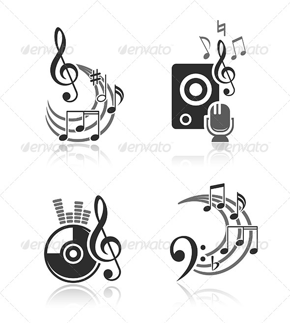 Music Vector Elements Set - Media Technology