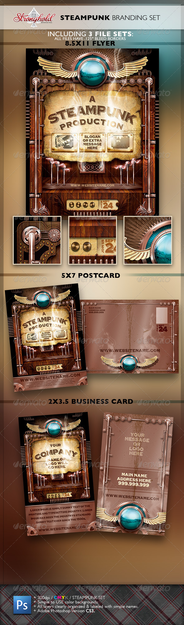 Vintage Steampunk Brand Flyer Set - Stationery Print Templates