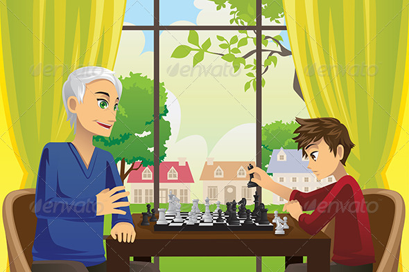 Grandfather and Grandson Playing Chess - People Characters