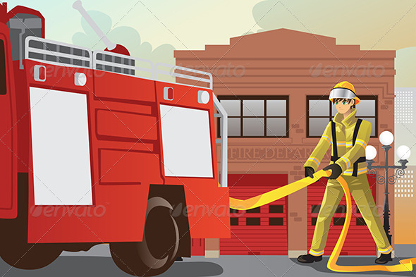 Working Fireman - People Characters