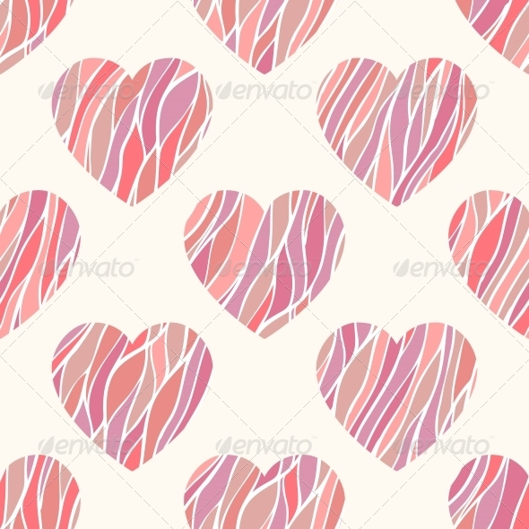 Seamless Pattern with Wavy Hearts. - Patterns Decorative